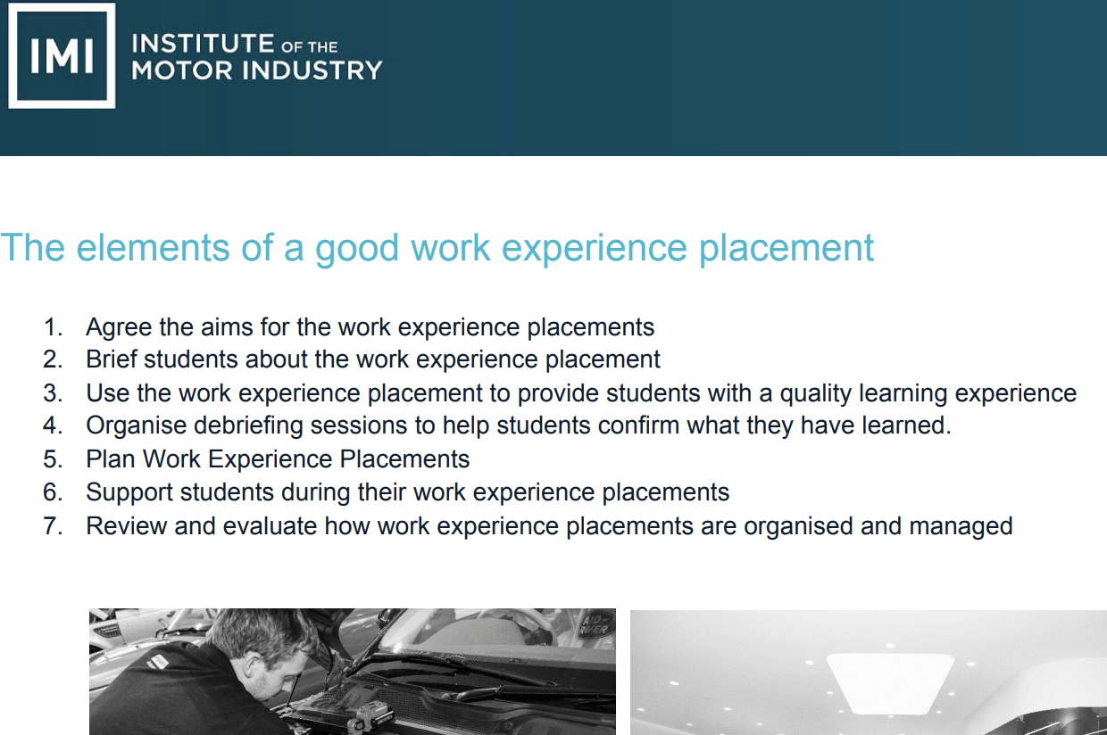 Work Experience Guide for Organisers