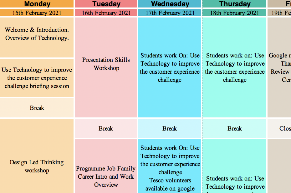 Virtual Work Experience Timetable