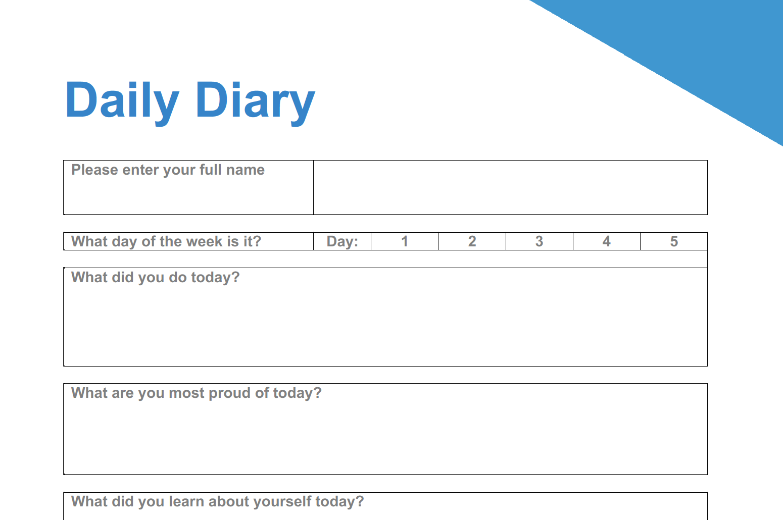 Daily Diary For Students