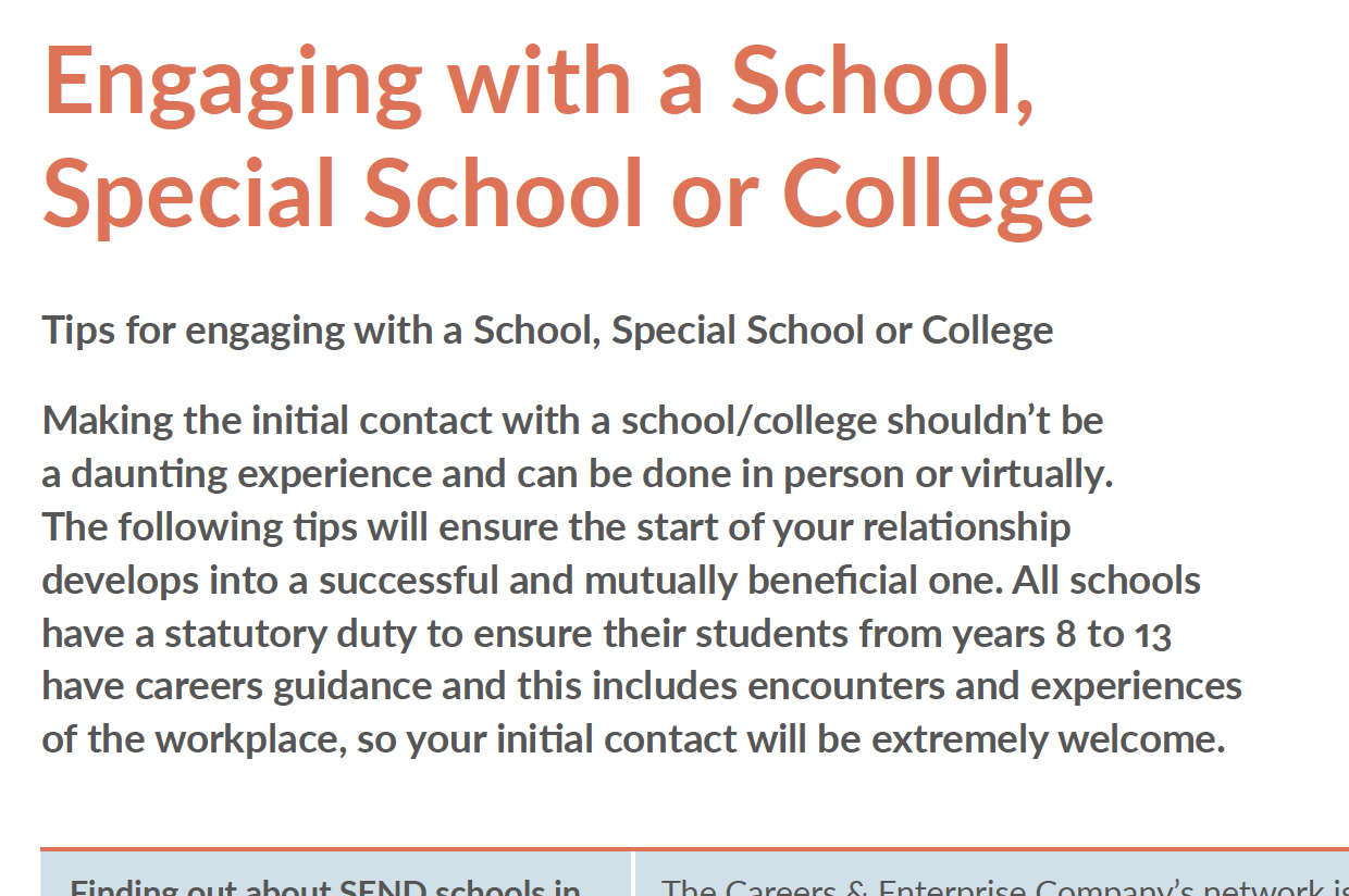 Engaging with a School, Special School or College